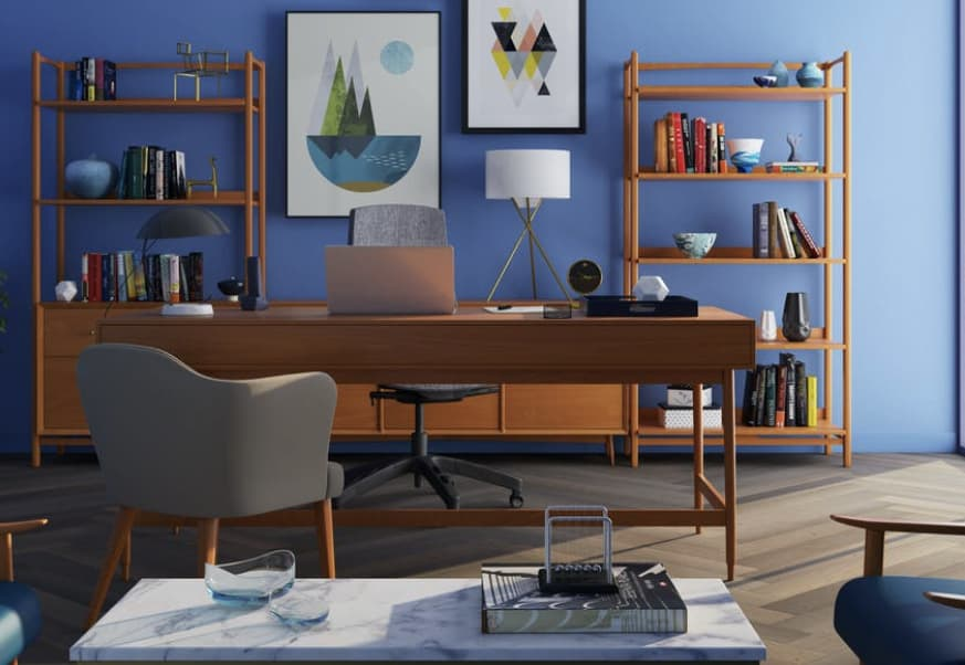 Custom built work area designed by a M.Des Interior Design aspirant