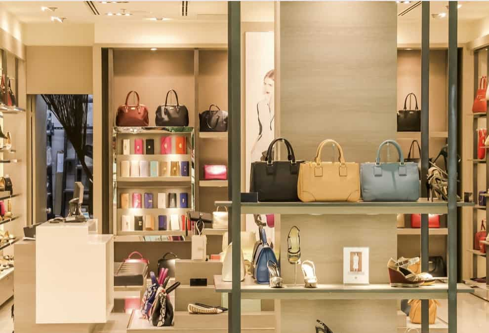 Beautiful store interiors displaying handbags and wallets designed by a M.DES in furniture and interior design student at chennai