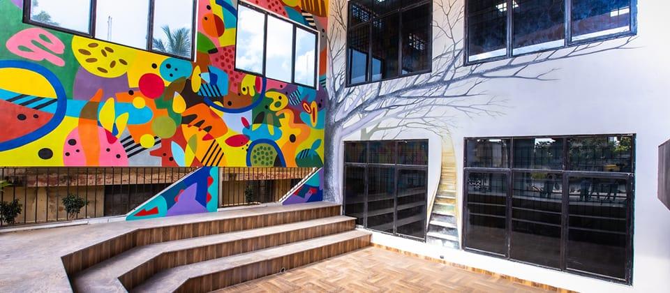 Colorful amphitheatre at a fashion design college in chennai