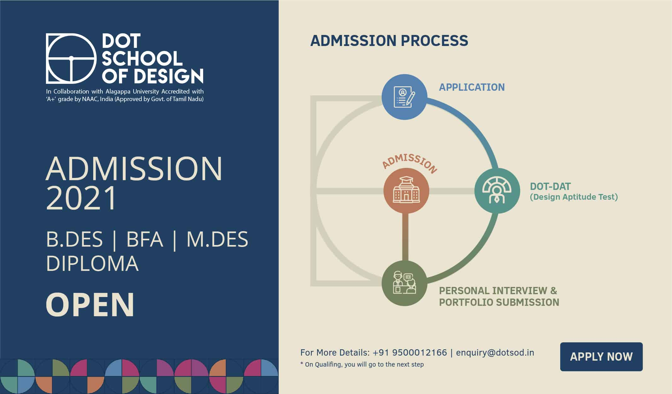 Pamphlet of a design college in Chennai about 2021 admissions and the process depicted using their logo